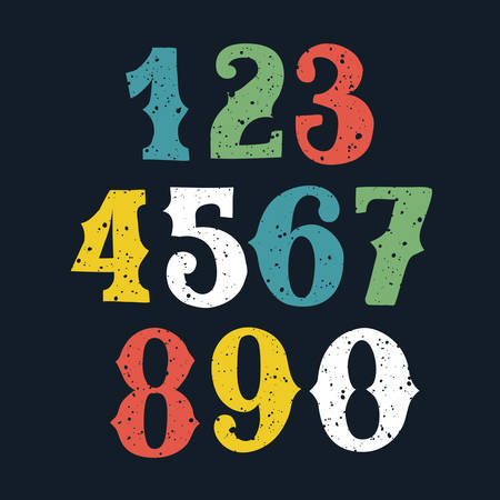 Vector hand drawn and sketched color bold numbers set, vector sketch style.