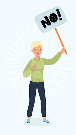 Vector cartoon illustration of woman holding in hand picket sign. Feminist struggle for rights concept for banners, infographic design 일러스트