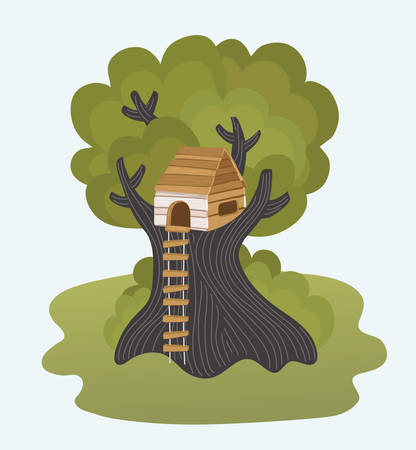 Vector cartoon illustration of kids of children tree-house with rope ladder. Isolated object on white background