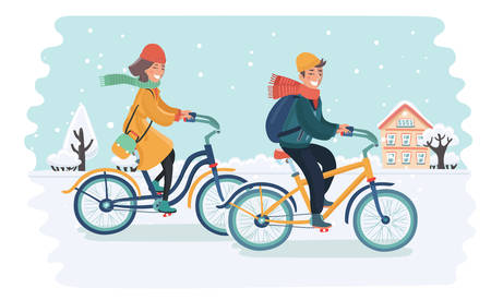 Vector cartoon illustration of attractive couple rides their bikes on snowy landscape. Man and woman. Couple ride bicycle. Winter town in snow.