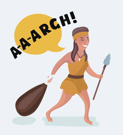 Vector cartoon funny illustration of stone age primitive woman comes back from hunting. Woman power! Character on white isolated background.