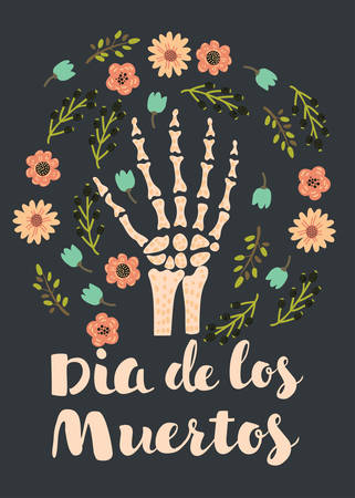 Vector cartoon illustration of Skeleton hand bones decorated by flowers. Day of the deads. Dark background.