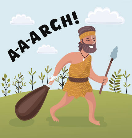 Vector cartoon illustration of Stone age primitive man with mining First Homo Sapiens comes back from hunting