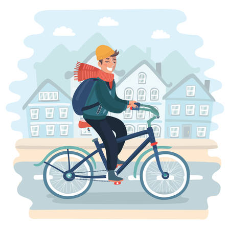 Vector cartoon illustration of Young man riding bicycle in urban landscape. Cold season: autumn, spring or winter. Healthy concept of ecological modern lifestyle Illustration