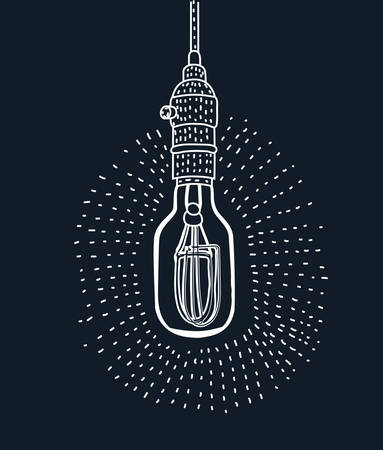Vector cartoon illustration of in the light bulb upside down modern style outline style black and white color isolated on dark background