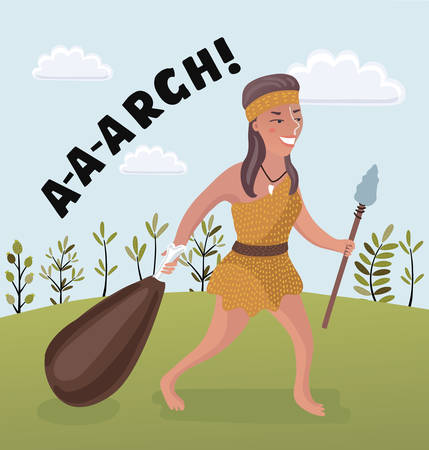 Vector cartoon illutation of woman of the stone age on summer background.+