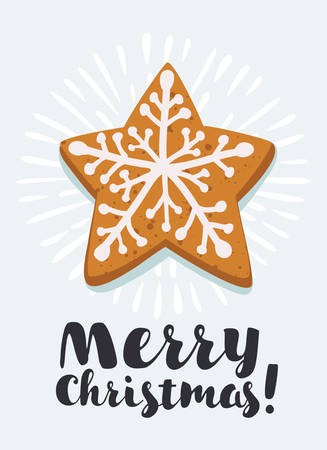 Vector cartoon illustration of star shape Christmas gingerbread decorated by snowflake glaze. Illustration