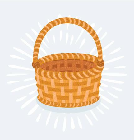 Vector cartoon illustration of Empty wicker basket isolated on white