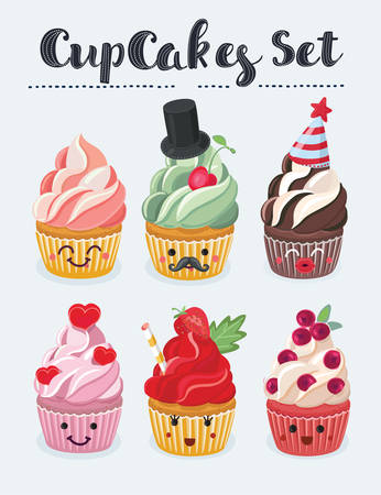 Vector cartoon illustration set of cute cupcake emoji icons. Different emotions smiling faces, vector illustration.