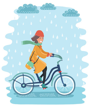 Vector cartoon illustration of happy woman in coat riding a bicycle through rainy day.