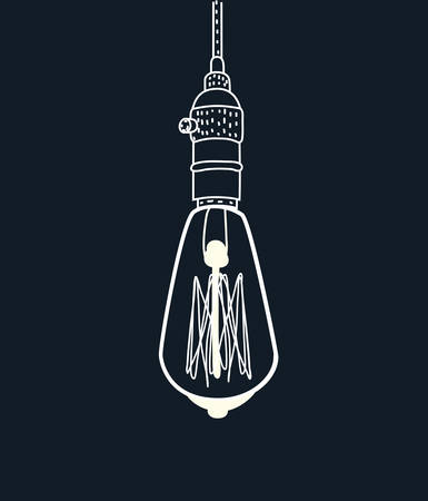 Vector cartoon illustration of drawing of an Edison Light-bulb on black background. Outline hand drawn object. Illustration