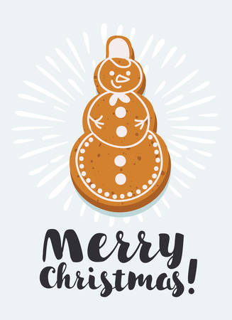 Vector cartoon illustration of Gingerbread snowman shape on white background with congratulation. Illustration