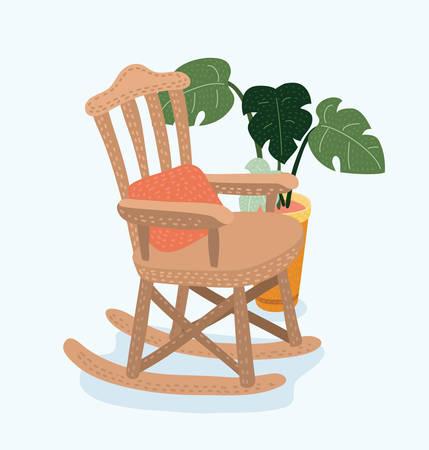 Vector cartoon illustration of Rocking chair. Vector cartoon illustration of cozy rocking chair for modern living room. Vectores