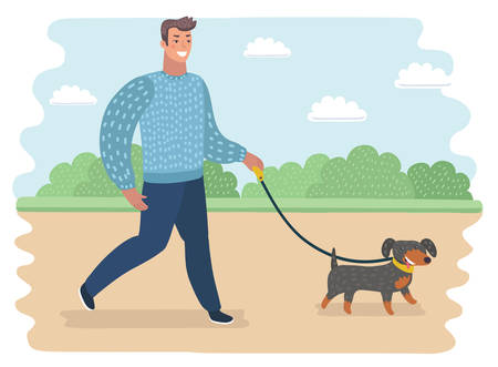 Vector cartoon funny illustration of man walking with dog in the park. Sumer outdoor landscape.