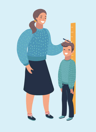 Vector cartoon illustration of measure child. Mother woman check boy heigh growth by truler meter. Human characters on isolated white baclground. Ilustração