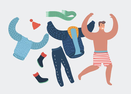 Happy cartoon man taking off work clothes running with joy. Summer vacation or holliday concept. Vector illustration. Seacost. Human funny character on isolated background.