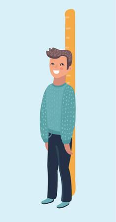 Il ragazzo felice misura la sua crescita con un grande governante e sta in piedi. Divertente arte vettoriale pediatrico su sfondo bianco. Carattere umano su sfondo bianco isolato.