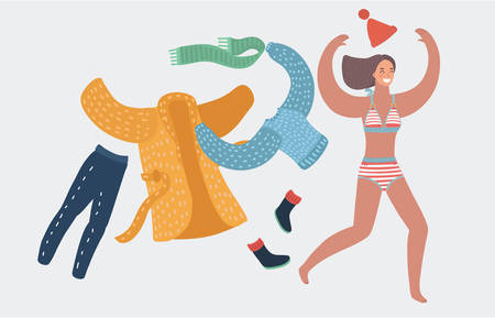 Vector girl take off wearing coat and scarf and cup, in swimsuit prepear to swim and sunbath. Running woman. Funny female happy characters on white background. Holiday, vacation concept, summer. Vettoriali