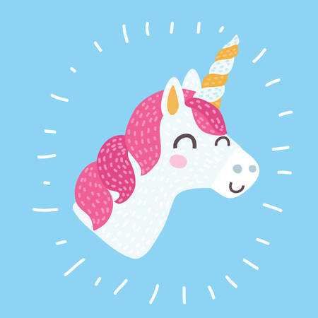 Vector cartoon illustration of smiling Unicorn head with closed eyed and mane pink icon isolated on blue. Head portrait horse sticker. Cute magic cartoon fantasy animal. Dream symbol. Design for children. Modern style concept in isolated background.