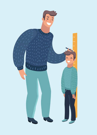 Vector cartoon illustration of measure child. Phather check boy heigh growth by truler meter. Human characters on isolated white baclground. Son getting higher