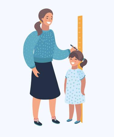 Vector a ilustração dos desenhos animados de uma mamã que mede a altura atual de sua filha. Caráter moderno humano no backgrund isolado.