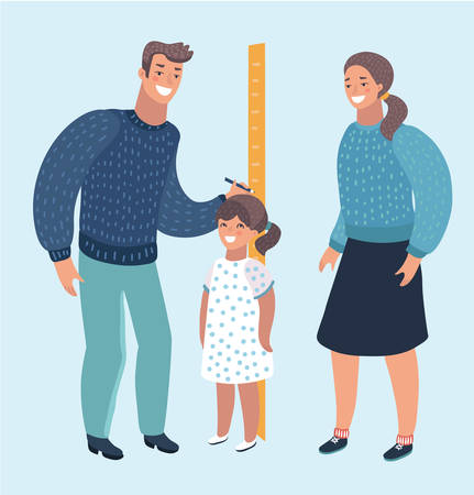 Vector cartoon illustration of Father and mother measuring boy kid height with painted graduations on the wall arrow. Modern style character isolated on white background. Vectores