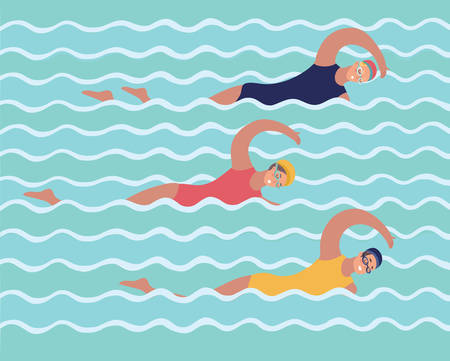 Vector cartoon funny illustration of graphic illustration of groupe voman in training in swimming pool, girls and sports, lifestyle. Swimmers, synchronized swimming.