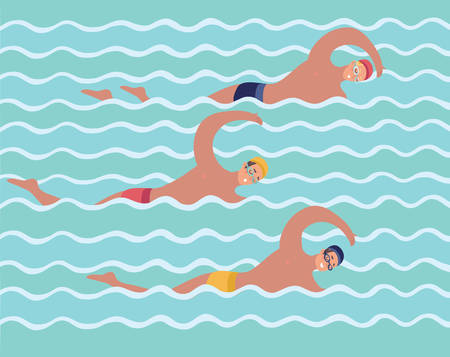 Vector cartoon funny illustration of sportsmen vector collection. Swimmer men crawl pool competition. Human male characters