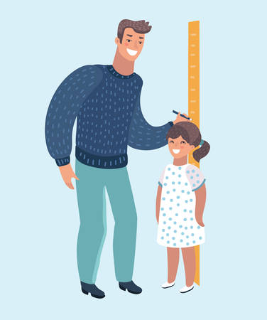 Vector cartoon illustratioon of father measuring girl kid height with painted graduations on the wall arrow. Modern style character isolated on white background.