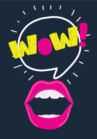 Vector cartoon illustration of Mouth with speach bubble. Wow and female lips i concept for advertising or poster. Vitage texture lettering on dark background.