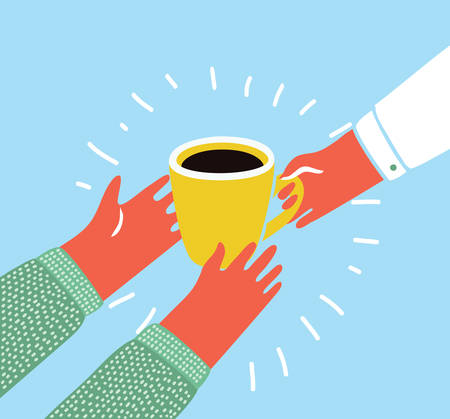 Vector cartoon colorful illustration of a hand giving a cup of coffee to another person Illustration