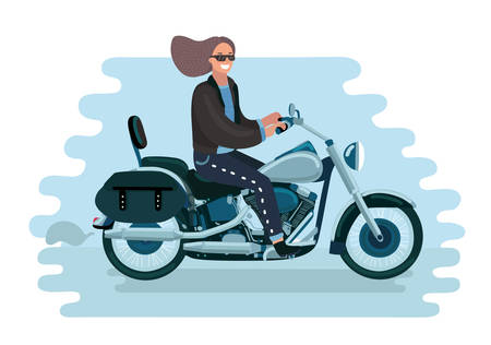 Vector cartoon illustration of pretty woman on a retro motorcycle Vettoriali