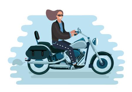 Vector cartoon illustration of pretty woman on a retro motorcycle Stock Illustratie