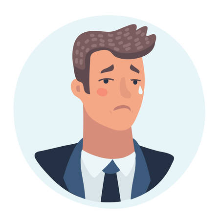 Vector cartoon illustration of a crying man