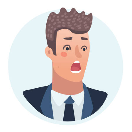Surprised Men emotions concept vector illustration