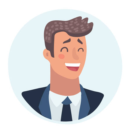 Young man face, laughing facial expression, cartoon vector illustrations isolated. Handsome boy emoji laughing out load with closed eyes and open mouth. Laughing face expression Vettoriali