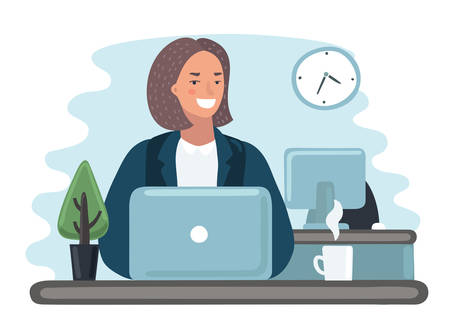 Vector cartoon funny illustration of woman in office work at her laptop. Girl assistance. Employment, workplace Stock Illustratie