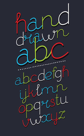 Vector cartoon set of stylized alphabet letters and numbers oblique slanted handwritten type. Contemporary, slanted neon font. modern italics typeface design, decorative typesetting on dark.