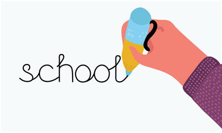 Vector cartoon illustration of Back to school banner set. Hand writing drawing pen. Human hand holding pencil. School word. Template empty. White isolated background.