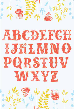Vector cartoon vintage alphabet font. Ornate letters for labels, headlines, posters decorated by flowers. Latin typeface for your design. Vettoriali