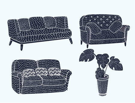 Vector illustration of cute different type comfortable black sofa coach furniture icon set set with wooden legs and Monstera plant in pot in black and white colors.