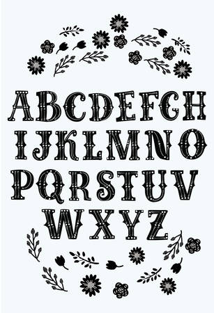 Vector cartoon Latin serif alphabet vector, typography design. Set of latin letters. Poster with latin abc made in retro west style. Ventage Black and white typeface decorated with flowers.