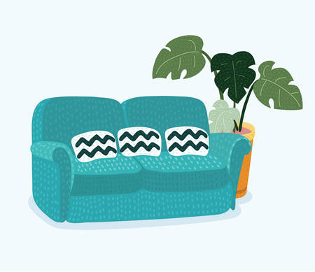 Vector cartoon illustration of cozy couch sofa for modern living room. Monstera plant in pot behind. Isolated object on white background.