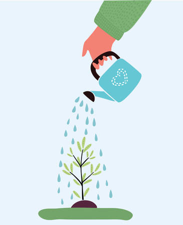 Vector cartoon illustration of watering plant with watering can. Planting plant. Isolated object on white background.