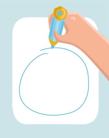 Vector cartoon illustration of human writing hand with pencil. Drawing circle. Illustration