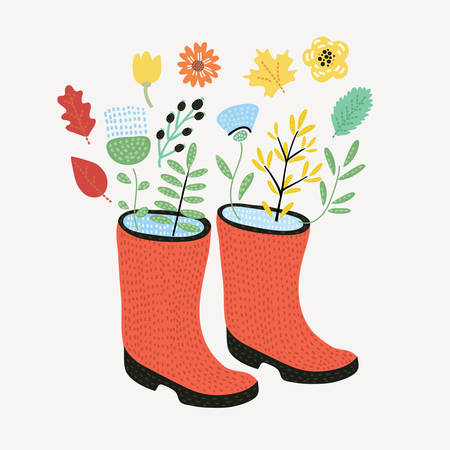 Vector card illustration of Bouquet of flower and falling leaves dot rubber boots. Vector illustration. Autumn composition.