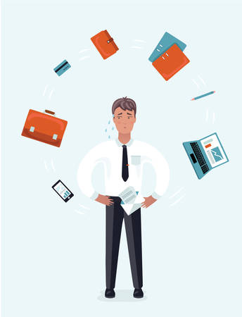 Vector cartoon illustration of Stressed Businessman with Laptop at Multi Tasking Office Work. Man juggler with office supplies, stuff and equipment