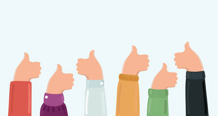 Vector cartoon illustration of group thumbs up in for banners