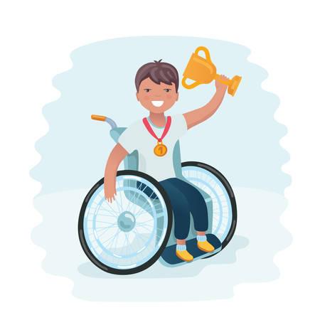 De beeldverhaal vectorillustratie van gehandicapte jongen in een rolstoel wint en houdt gouden winnaarkop en sparrenplaatsmedaille. Vector Illustratie