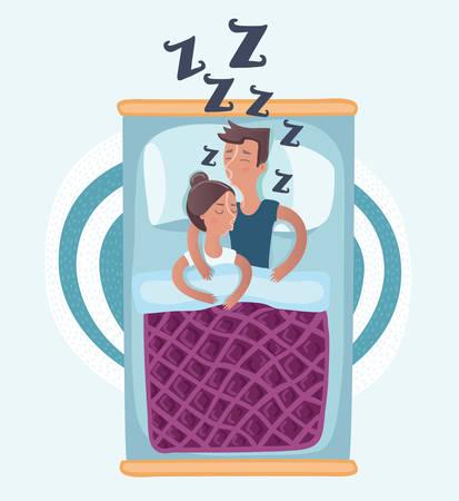 Vector cartoon illustration of couple sleeping hugging in bed top view vector illustration